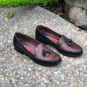 Cole Haan Country Brown Woven Tassel Loafers